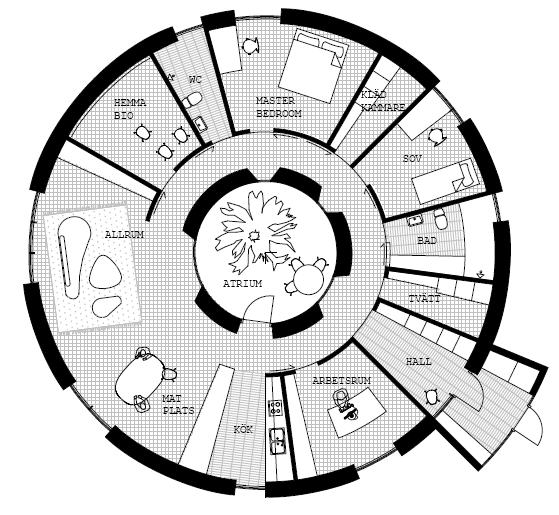 Passive in the round momeld modern living modern design for Circular house floor plans